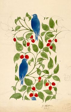 1898 CFA Voysey textile design for a double cloth textile showing a bird amid cherry branches, for & produced by Alexander Morton & Co. V & A Museum Textiles, Textile Patterns, Textile Prints, Textile Art, Arts And Crafts Movement, William Morris, Surface Pattern Design, Fabric Painting, Tile Painting