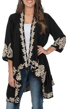 ed187ee7229 April Sky Women s Black and Taupe Embroidered Kimono