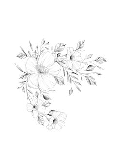 Excellent simple ideas for your inspiration Love Tattoos, Beautiful Tattoos, Body Art Tattoos, Print Tattoos, Flower Outline, Flower Art, Flower Wrist Tattoos, Tattoo Floral, Nouveau Tattoo