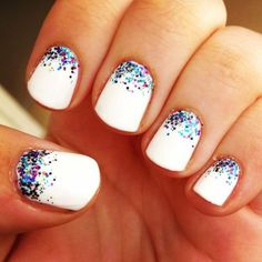 white nails colour sparkles
