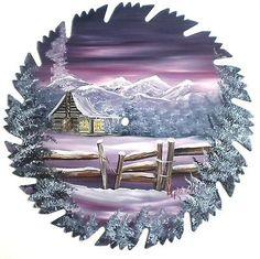 Hand Painted Saw Blade Art Mountain Mauve Winter Log Cabin w Fence | eBay