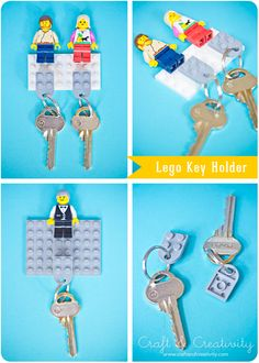 If you love toys from the AND you can never find your keys, this LEGO key holder DIY will blow your mind Lego Craft, Crafty Craft, Legos, Lego Key Holders, Diys, Diy And Crafts, Arts And Crafts, Diy Cadeau, Ideas Geniales