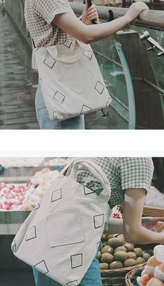 Fashiontroy Hipster & indie white geometry printed cotton tote bag