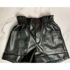 Go Girl Faux Leather Shorts - Small / Black
