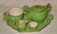 Royal Winton Breakfast Set, Green Rosebud. One of my favorites.