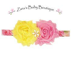 Flower Headband - Tropical Headband - Floral Headband - Pink - Green - Yellow - Baby - Toddler - Girls  Zara Baby by ZarasBabyBoutique on Etsy