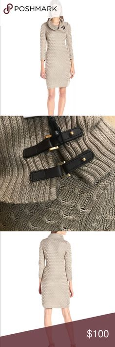 Calvin Klein Womens Cable Knit Sweaterdresssize M 3/4 sleeve cable knit sweater dress with cowl neck and buckle detail   Product Features:   3/4 sleeve  Cowl neck.  Knee length. Khaki color. Calvin Klein Dresses