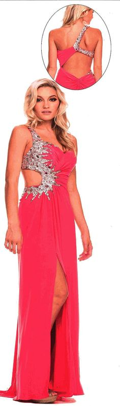Prom Dresses<BR>Evening Dresses under $200<BR>2736<BR>Long one shoulder dress with encircling side cutout and sexy side slit.