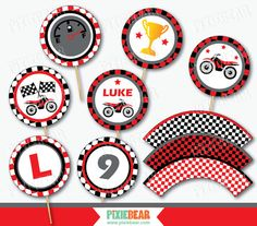 Motorcycle Party Cupcake Toppers by PixieBearParty on Etsy #MotocrossParty #DirtBikeBirthday