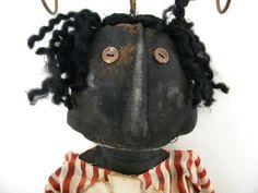 Primiitve Doll Black Folk Mammy Handpainted OOAK by PrimitiveHart, $24.50