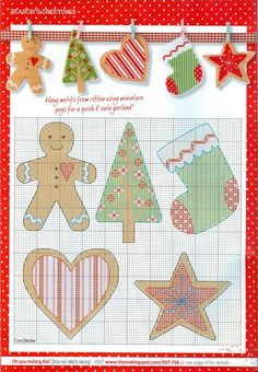 Christmas cross stitch  - hang on ribbon garland.