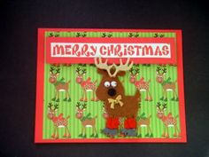 Felt Reindeer Merry Christmas Card , Christmas Card with Reindeer , Greeting Cards by BethiesCards for $5.50