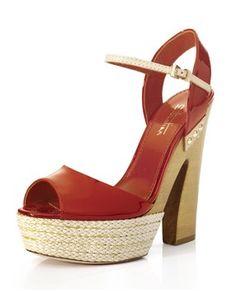 Sandalo con cinturino su fondo legno e corda. Tacco cm.13. Suola in cuoio.  Spring-Summer 2013  #MadeinItaly #outfit #outfitetnico #outfitethnic #shoes #shoesethnic #outfitsummer #sandal #wedge #heel #sebastianshoes