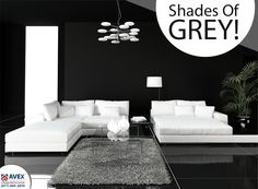 Black design living-room interior with white couch. Shhades of grey! #home #blackinteriors #homeinteriors