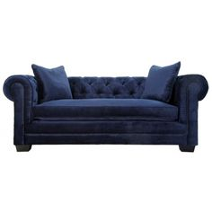 TOV- NORWALK Navy Velvet Fabric Upholstery With Tufted Design Chesterfield Sofa