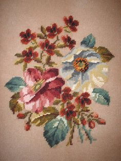 Vintage Large Bucilla Rose & Violets Needlepoint Canvas #VintageFlorals