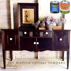 The Modern Cottage Company, http://themoderncottagecompany.blogspot.com/, gave this buffet a sleek and handsome new look with General Finishes Lamp Black Milk Paint and Java Gel Stain. We'd love to see your projects made with General Finishes products! Tag us with @GeneralFinishes and make sure to let us know which products you used! #generalfinishes #gfmilkpaint #javagel