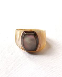 Vintage Ring Vintage Mother Of Pearl Carved Shell One of A Kind Size 8 Ring Antique Vintage Jewelry