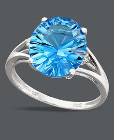 White gold with 5 ct. Blue Topaz & Diamond accents.