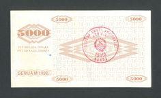 BOSNIA  5000 Dinara 1992 aUNC  handst.BREZA P9a  100% ORIGINAL ! VERY RARE