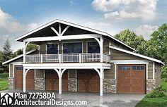 Spacious 6 Car Garage w/ Rec Room - 72758DA | CAD Available, Craftsman, PDF | Architectural Designs