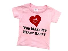 Toddler Valentine Shirt You Make My Heart Happy Red GLITTER Smile 2 Year Old 3 Year Old 4 Year Old 5 Year Old Valentine WeeZeesTees WT-213 by WeeZeesTees on Etsy
