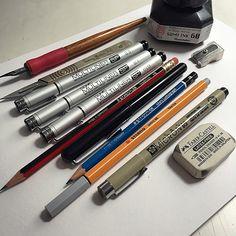 Materials. This is what I currently use.  Kuretake Zig Pen with Manga G-Nib Kuretake Sumi Ink Swann Morton Scalpel with 10A Blade Copic Multiliner Pens (0.03, 0.1, 0.5) Staedtler Tradition HB Pencil with eraser Pentel Pocket Brush pen Staedtler Mars Lumograph pencil (2B) Stabilo Point 88 Fineliner Sakura Pigma Micron pigment liner pen (0.5) Faber-Castell pencil sharpener Faber-Castell latex-free eraser
