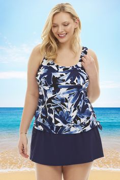 f1bad6f8763 The Maxine Ink Floral Printed Plus Size Tankini Top is bold and beautiful