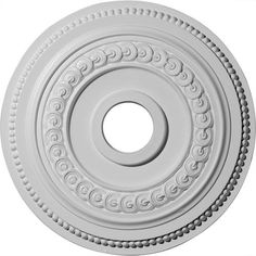 "Ekena Oldham 18"" OD Primed Urethane Ceiling Medallion with 3-3/8"" ID"