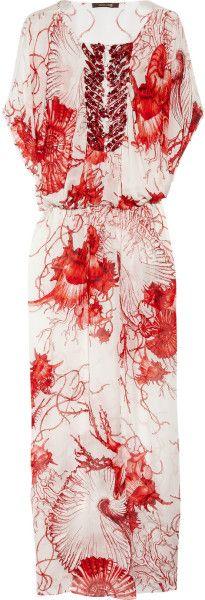 Roberto  Cavalli  Shell-Print Silk-Chiffon Kaftan @Lyst
