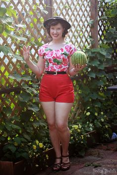 Watermelon novelty print 1950s inspired playsuit | Polka Polish