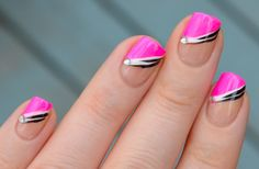 Sonnela: Pink angled french manicure