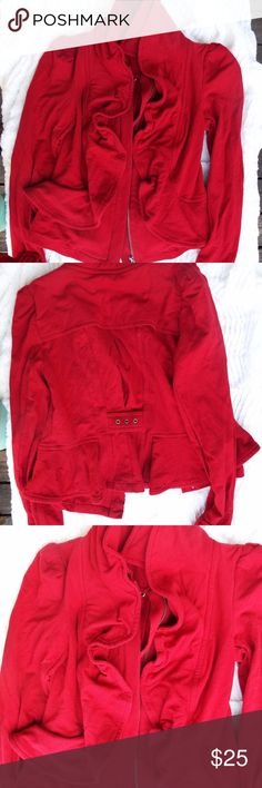 FLAMING RED BEAUTY RETRO MEANING NOT OLD ENOUGH TO BE VINTAGE BUT DEFINITELY RETRO.  BARELY WORN RIGHT OUT OF MY PERSONAL CLOSET.   THE STYLE IS SO CLASSY. LOVE THE CLASSIC RED COLOR AND THE RUFFLES COLOR. VERY COMFY AND WILL DEFINITELY KEE YOU WARM! INC Jackets & Coats