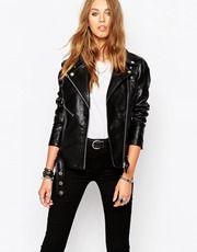 Blank NYC Leather Look Biker Jacket With Zip Details