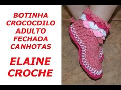 CROCHE PARA CANHOTOS - LEFT HANDED CROCHET - BOTINHA CROCODILO ADULTO FECHADA CROCHE CANHOTAS - YouTube