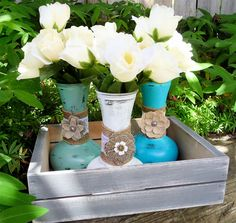 Elegant, rustic and shabby chic vases, perfect for an outdoor, or summer wedding.  There are 10 vases in each set, though the photo only shows