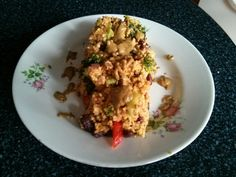 Millet 'risoto' with red kidney beens and brokoli served with peanut butter topping :)