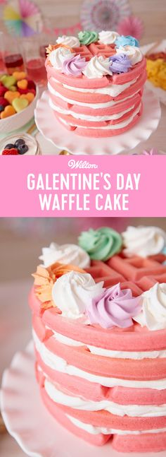 No Galentine's Day brunch is complete without waffles! Topped and filled with lots of whipped cream, this waffle cake is just the crowning touch your Galentine's Day needs! Tint your waffle batter to make fun pink waffles, or just leave the batter as is for a waffle stack worthy of Leslie Knope herself! #wiltoncakes #galentines #galentinesday #valentines #valentinesday #valentinesdaydesserts #desserts #waffles #cakes #wafflecake #valentinesdayideas #cakeideas