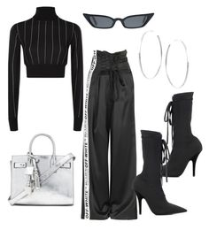 """Airport style • #styledbynm"" by stylingbynicole ❤ liked on Polyvore featuring Yeezy by Kanye West, DKNY, Lana Jewelry and Yves Saint Laurent"