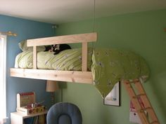 A simple loft bed idea. I like that it's not so bulky for a girls room. It would be perfect for Gabby's room.