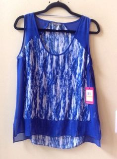 NWT VINCE CAMUTO WOMEN'S MULTI-COLOR 100% POLYESTER SLEEVELESS BLOUSE SZ M-$79 #Vince #Blouse