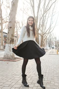 Zara dress, cropped sweater, tights, combat boots.
