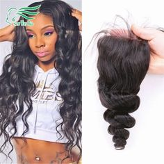 4*4 7A Virgin Brazilian Loose Wave Lace Closure Bleached Knots Unprocessed Human Hair Free/Middle/3 Part Closures Free Shipping