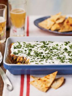 Party Bean Dip -- for a sweet and easy twist, add the savory taste of B & M Beans. www.bmbeans.com #bmbeans #beans #recipe #beandip #ovenbaked #dip #sides