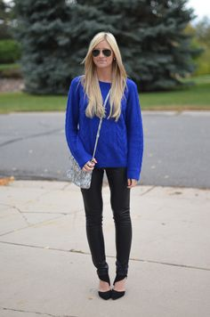 Cobalt sweater, leather leggings for fall