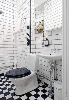 I love this, but I would hate to clean it. Also, weird toilet. Half Bathroom Remodel, Bathroom Renovations, Home Remodeling, Downstairs Bathroom, White Bathroom, Small Bathroom, Tiny Bathrooms, Vintage Bathrooms, Bad Inspiration