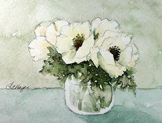 Watercolor Paintings by RoseAnn Hayes: White Anemones
