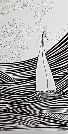 sailboat drawing More by marissa Sailboat Drawing, Sailboat Art, Linoprint, Boat Painting, Art Graphique, Linocut Prints, Line Drawing, Sea Drawing, Drawing Art