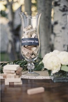 This is such a fun idea! Have each guest sign a block to a Jenga game with a permanent marker, and then enjoy reading everyone's messages while playing the game over the years.  For rehearsal dinner, make a sign saying something like: please write your happy wishes for the soon-to-be Mr. & Mrs.!