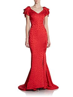 Zac Posen, GIFTS OF LOVE, BEAUTY AND JOY from #SAKSOFF5TH Draped Shoulder Trumpet Gown